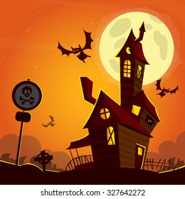 Creepy house on night background with a full moon behind.  Vector Halloween background with haunted house and cemetery