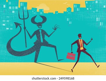 Creepy illustration of Retro styled Businessman who's shadow reveals him to be somebody quite sinister in the form of a Dancing Devil.