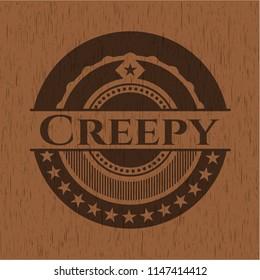Creepy retro style wood emblem