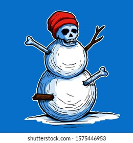 Creepy skull head snowman waring beanie hat with twig and bone stuck in the body illustration character hand drawn tattoo sticker design for winter season concept