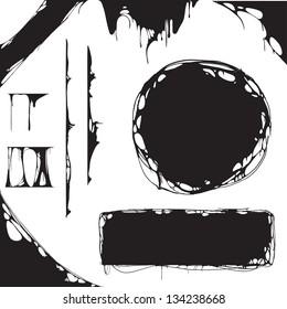creepy slime halloween design elements. black and white detailed vector illustration