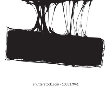 creepy slime halloween signboard. black and white detailed vector illustration