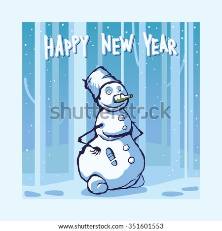 creepy snowman new year design greeting card background funny vector illustration
