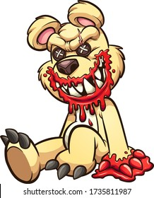 Creepy teddy bear smiling with bloddy mouth and paws. Vector cartoon clip art illustration with simple gradients. All on a single layer.