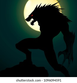 A creepy werewolf with a grin against the background of a yellow big moon. Silhouette of a Werewolf