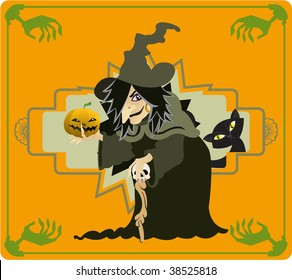 A creepy witch holding a pumpkin on her hand.
