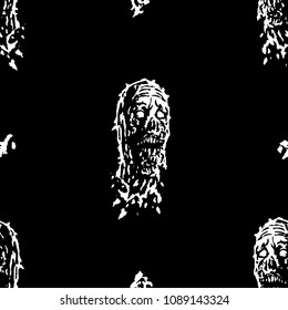 Creepy zombie head pattern. Vector illustration. Print in genre of horror. Black and white colors.