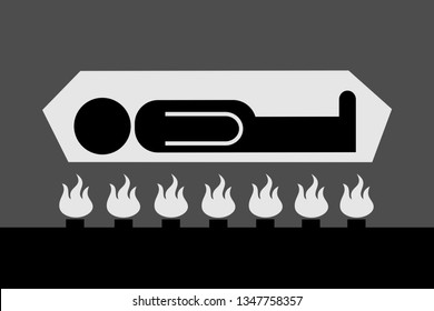 Cremation - dead body is cremated on furnace in crematory and crematorium. Burning of cadaver and human corpse into ash. Vector illustration