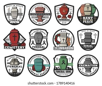 Cremation urn isolated vector badges of funeral service. Columbarium vases, jars and pots for ashes with cemetery tombstone crosses, memorial wreaths and candles, RIP ribbons, doves and crucifixes