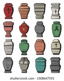 Cremation urns isolated icons, funeral service and burial ceremony organization agency symbols. Vector funeral columbarium urn for ashes with Christian crucifix cross, RIP black ribbon and dove bird