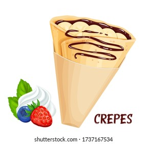 Crepe with bananas and chocolate in paper packaging, pancakes vector illustration for cafe or restaurant. Crepes close-up in the cartoon style.