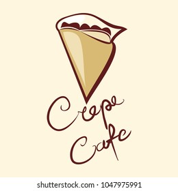 Crepe Cafe Logo Vector Illustration