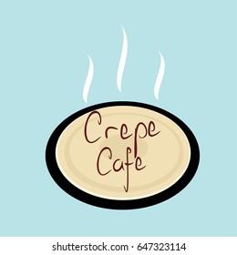 crepe cafe logo vector illustration