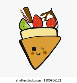 Crepe with fruit and whipping cream cartoon doodle vector illustration
