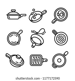 Crepe pan skillet icon set. Outline set of crepe pan skillet vector icons for web design isolated on white background
