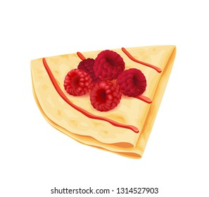 Crepe with raspberries isolated on white. Vector illustration.