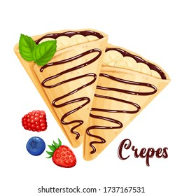 Crepes with bananas and chocolate, pancakes vector illustration for cafe or restaurant. Two crepes close-up in the cartoon style.