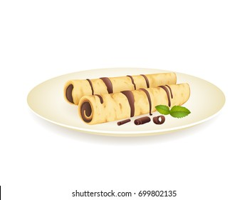 Crepes with chocolate cream isolated on white. Vector illustration.