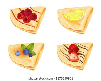 Crepes icons set isolated on white. Vector illustration