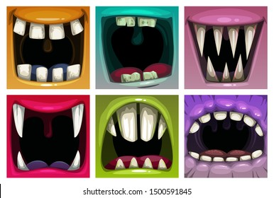 Creppy fantasy monsters mouth set. Vector scary jaws collection. Colorful icons.