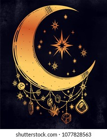 Crescent boho moon with beautiful gemstone pendants and stars. Precious jewels in celestial composition. Isolated vector illustration. Hand drawn tattoo design, astrology, alchemy, magic symbol.