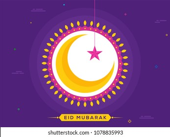 Crescent golden moon, hanging star and light bulbs on purple background. Eid Mubarak celebration concept.