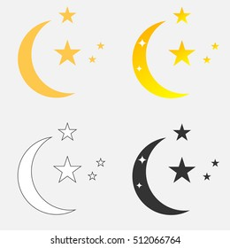 Crescent, Crescent icon, half-moon, half moon illustration. Flat design, vector.