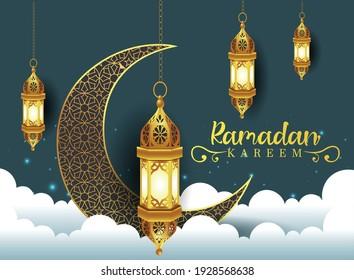 Crescent Islamic with Lantern for Ramadan Kareem. Golden Half Moon, Lamp. vector illustration design