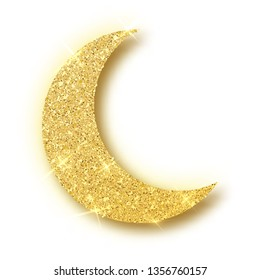 Crescent Islamic for Ramadan Kareem design element isolated. Gold glitter moon vector icon of Crescent Islamic isolated. Luxury gold crescent, half moon gold glittering confetti particles background.