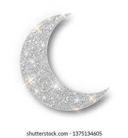 Crescent Islamic for Ramadan Kareem design element isolated. Silver glitter moon vector icon of Crescent Islamic isolated. Luxury silver crescent, half moon gold glittering.