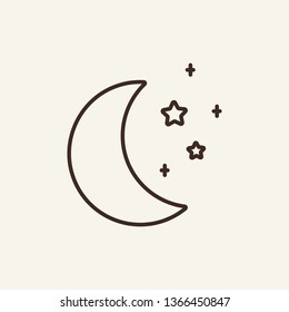 Crescent line icon. Star, moon, astronomy. Time concept. Can be used for topics like nature, religion, night