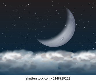crescent moon above the cloud illustration