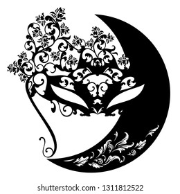 crescent moon and carnival mask among rose flowers - night masquerade black vector silhouette