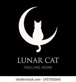 Crescent moon and Cat. Lunar Cat Logo design. Animal pet logo for company and website.