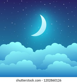 Crescent moon with clouds and stars in the night sky. Vector illustration
