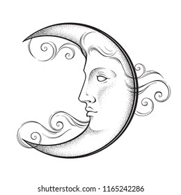 Crescent Moon Face Images Stock Photos Vectors Shutterstock
