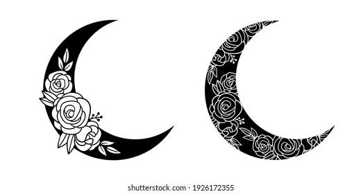 Crescent moon of flowers. Vector hand drawn illustration. Tattoo design, logo, wedding invitation, greeting card.