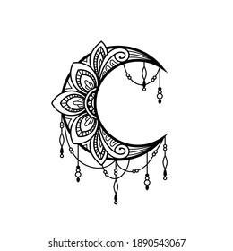 Crescent moon mandala style, moon decoration element