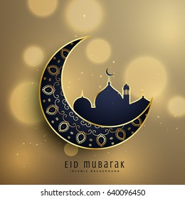 crescent moon and mosque with floral decoration for muslim eid festival