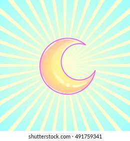 Crescent moon over abstract ray burst background.  Vector illustration.