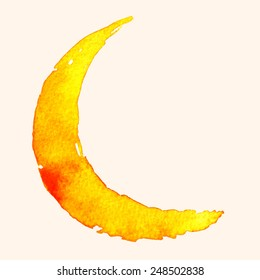 Crescent moon of painting with watercolor on paper, illustration design.