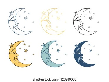 Crescent Moon In Profile With Stars A Face