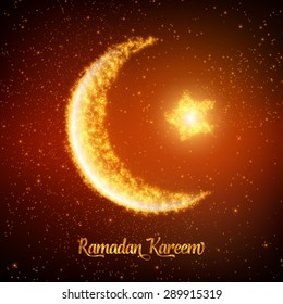 Crescent moon and star constructed of orange glowing particles on red background. Ramadan Kareem. Shiny decorative moon and star.