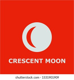 Crescent moon symbol. Outline crescent moon icon. Crescent moon vector illustration for graphic art.