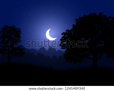 crescent moon and trees silhouette flat wallpaper