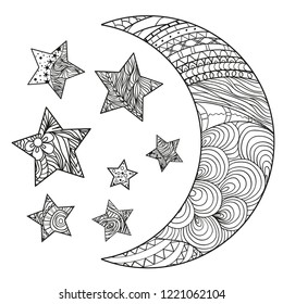 Crescent on white. Moon and stars with abstract patterns on isolation background. Zentangle. Design for spiritual relaxation for adults. Black and white illustration for anti stress colouring page