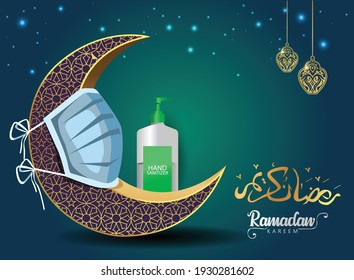 crescent, sanitizer, mask, protect corona or covid-19 virus concept for the Muslim feast of the holy month of Ramadan Kareem or Eid Mubarak Design Background.