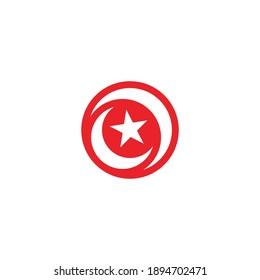 Crescent and star vector symbol