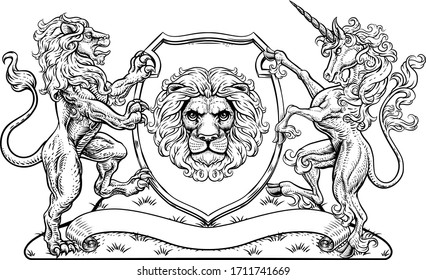 A crest coat of arms family shield seal featuring lions and unicorn horse with horn