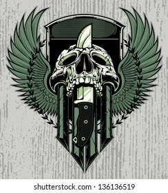 Crest design with skull slain by a combat knife through it's head. Crest includes blank area for copy.
